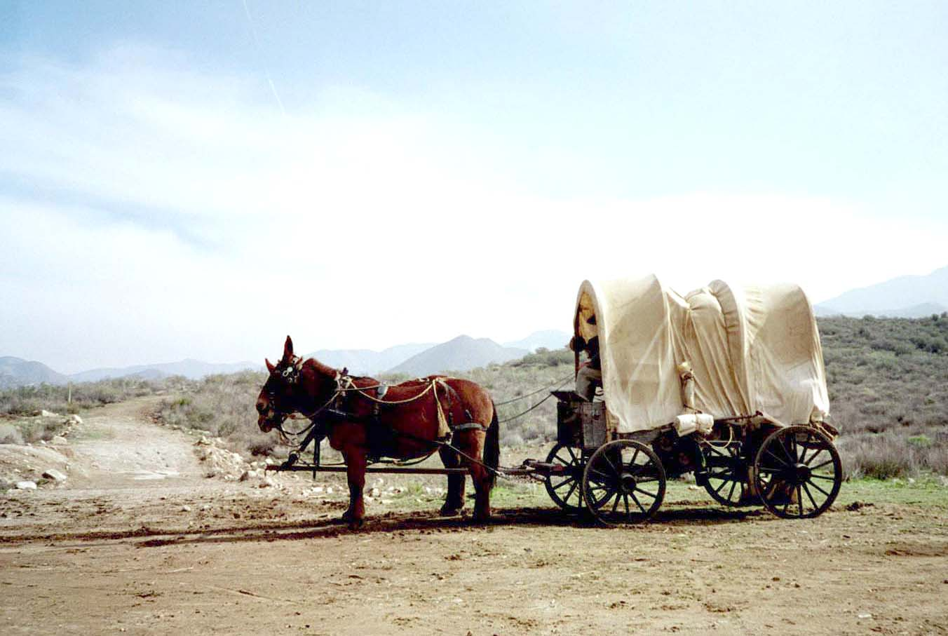 Covered wagon on set