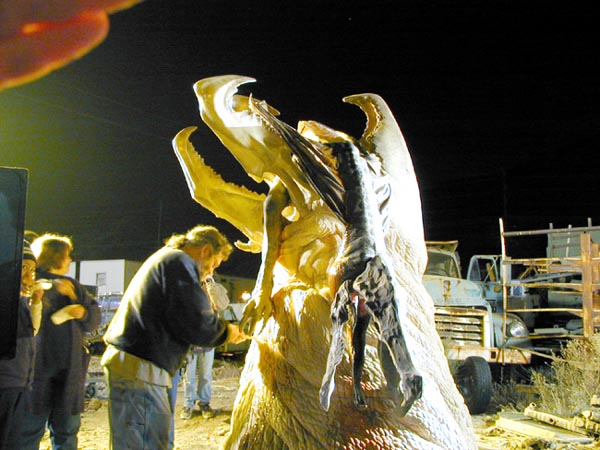 Graboid on set - night
