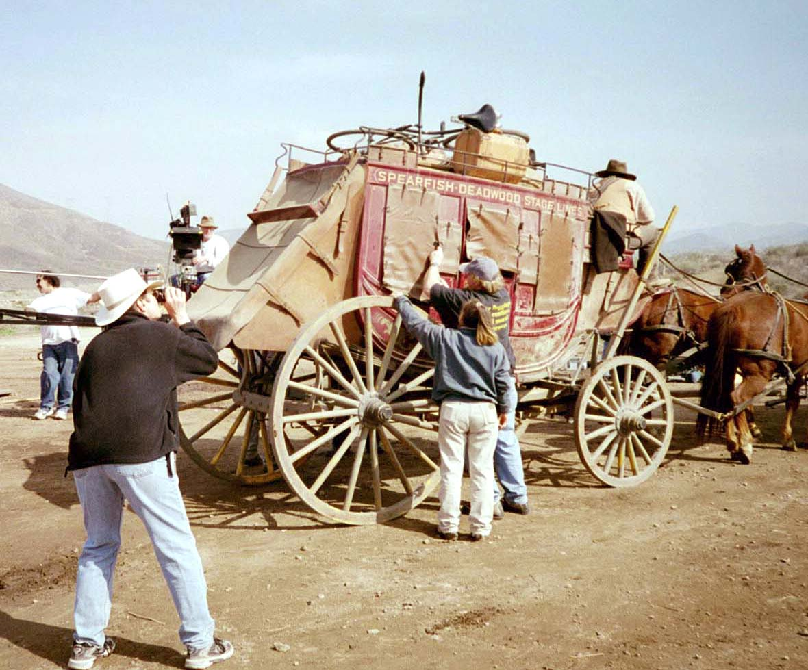 Setting up for a stage coach shot