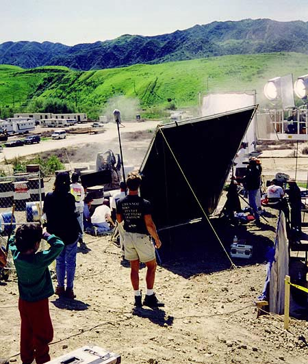 The set as seen from the top, graboid coming up out of the ground.