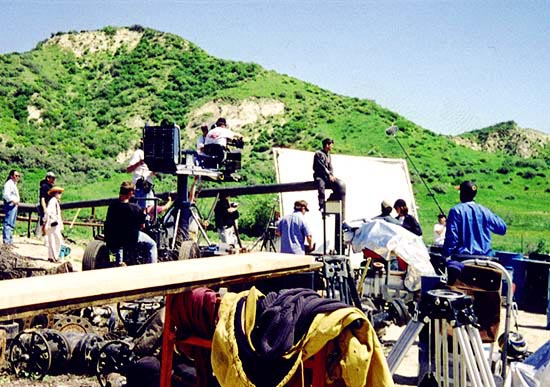 The set as seen from the top, actor on pipe.
